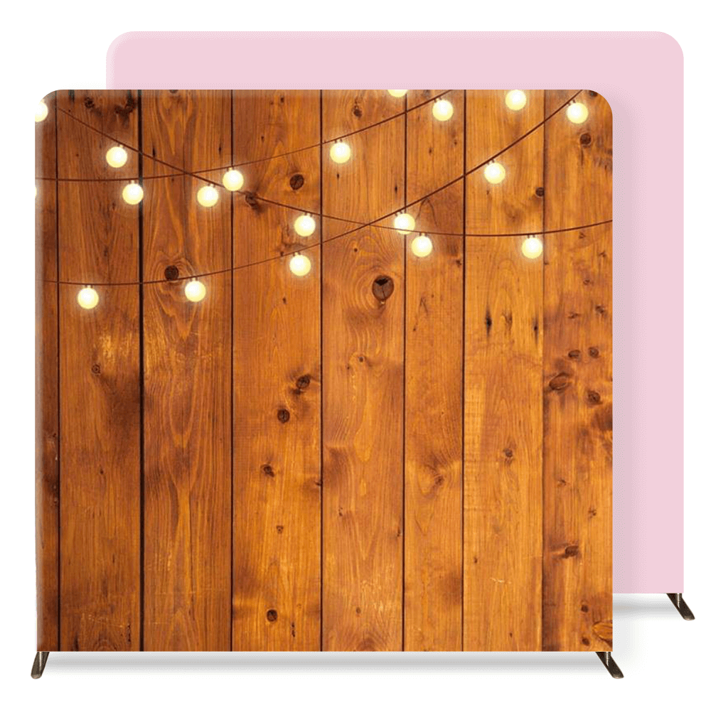 wood with string lights & pink backdrops