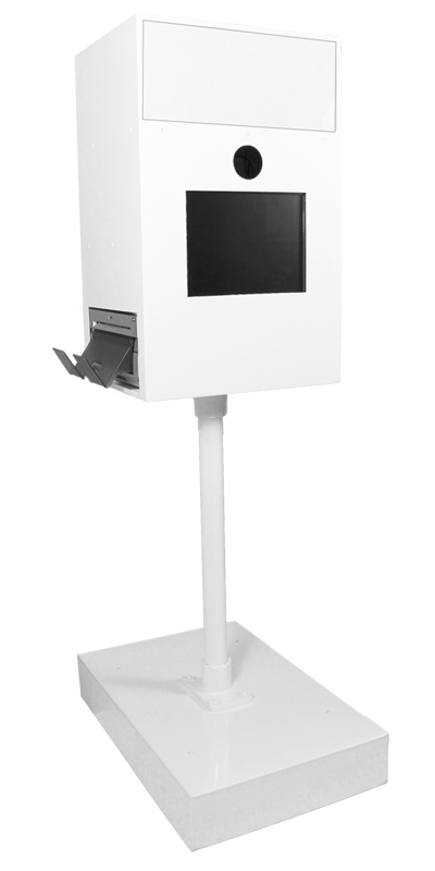 white open style photo booth machine included in photo booth rental cost in Memphis, TN