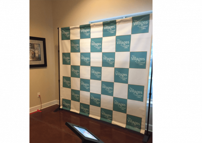 step and repeat vinyl backdrop set up