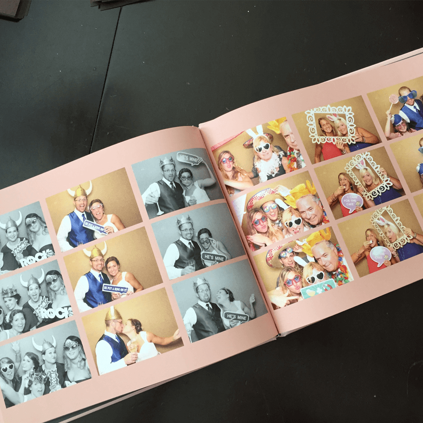 coffee table memory book showing inside pages of another book