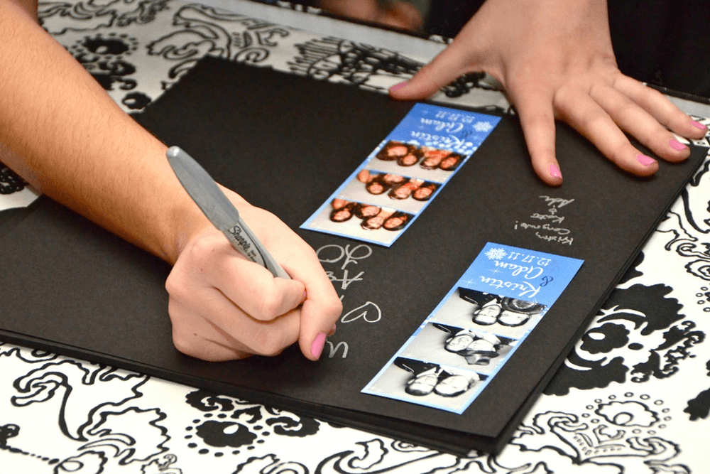 scrapbook memory book page signing with strips